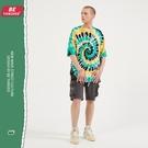 旋渦迷幻紮染嘻哈體恤T恤 慵懶風高街潮流原創T恤 男生小眾設計T恤 2021夏季歐美新款短袖T恤