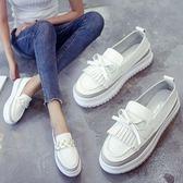 小白鞋韓版一腳蹬 厚底底懶人鞋