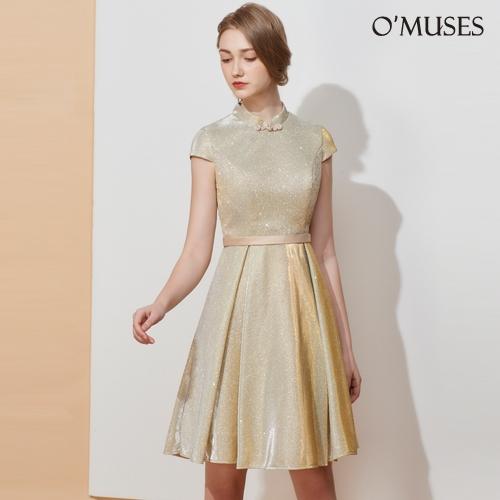 OMUSES 金蔥旗袍伴娘訂製金色短禮服
