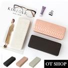 OT SHOP [現貨] 眼鏡盒 墨鏡保護盒 收納盒 蛇紋壓紋 皮革 防壓 方便攜帶 個性時尚配件 黑/米白/粉 C12