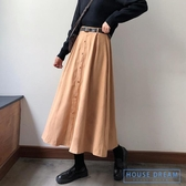 半身裙 工裝裙秋季2020新款裙子秋冬中長款A字裙半身裙女冬裙高腰百褶裙 HD