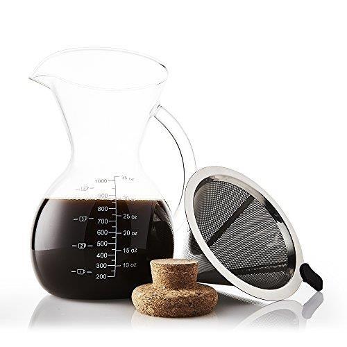 【美國代購】Apace Living Pour Over咖啡壺套裝帶咖啡勺和軟木蓋(1000毫升)