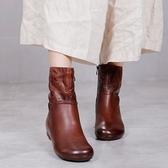 圓頭休閒短靴 真皮手工女靴 平底拉鏈馬丁靴-夢想家-標準碼-0925