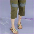 褲子 設計拼貼條紋口袋棉麻八分褲 三色-小C館日系