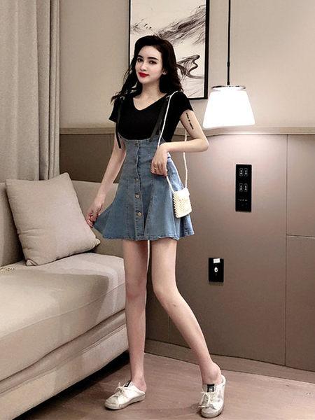 克妹Ke-Mei【ZT51931】DESS時髦百變龐克皮黑吊帶排釦牛仔吊帶裙+T恤洋裝
