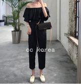 韓國實拍 露肩 渡假 縮腰連身褲 CC KOREA ~ Q16412