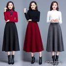 冬季毛呢口袋半身裙中長裙A字裙大碼顯瘦高腰大擺裙 依凡卡時尚