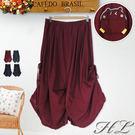 .HL超大尺碼.【19060006】可愛造型娃綁帶伸縮腰長裙 4色