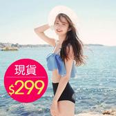 泳裝 比基尼 泳衣 撞色平口荷葉邊露腰細肩帶泳裝【SF6602】 BOBI 夏天就是要穿比基尼