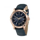 【Maserati 瑪莎拉蒂】Circuito品味計時兩眼真皮腕錶-神秘藍/R8871627002/台灣總代理公司貨享兩年保固