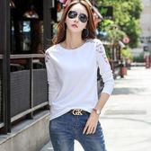大韓訂製長袖T恤女棉刺繡上衣韓版女裝體恤镂空打底衫