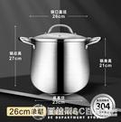 湯鍋 不銹鋼燉湯鍋 加高厚 大容量 蒸煮電磁爐煤氣雙耳復合底鍋 圖拉斯3C百貨