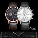 Wreath.瑞士品牌MEGIR。商務光面多功能計時日曆夜光真皮革錶帶手錶【ta458】*911 SHOP*