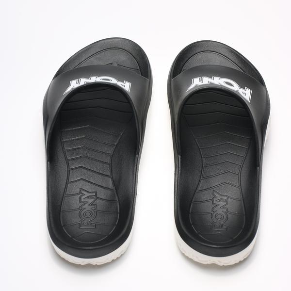 PONY 黑 白 金蔥 銀LOGO 防水 膠拖 拖鞋 男女 (布魯克林) 2019/05月 92U1FL07BK