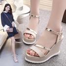 厚底涼鞋 歐美厚底楔形涼鞋女防水台鬆糕厚底防滑平底高跟魚嘴涼鞋2020夏季新款 Cocoa
