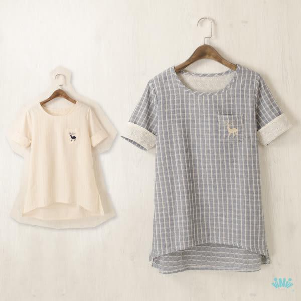 viNvi Lady 小鹿刺繡口袋棉麻格紋短袖上衣 短袖T恤