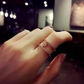 戒指 玫瑰金 鑲鑽-亮眼太陽生日情人節禮物女開口戒73dv41[時尚巴黎]
