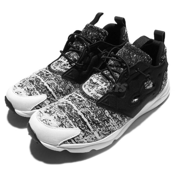 Reebok 休閒慢跑鞋 Furylite JF Jacquard Fade 黑白 潑墨 雪花 男鞋【PUMP306】 V69500