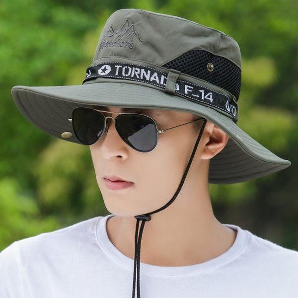 漁夫帽 防曬帽子男士夏天大檐戶外釣魚漁夫帽透氣遮陽帽登山太陽帽韓版潮