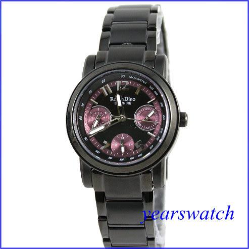【萬年鐘錶】 Roven Dino 羅梵迪諾 都會三眼時尚黑紫 RD388B