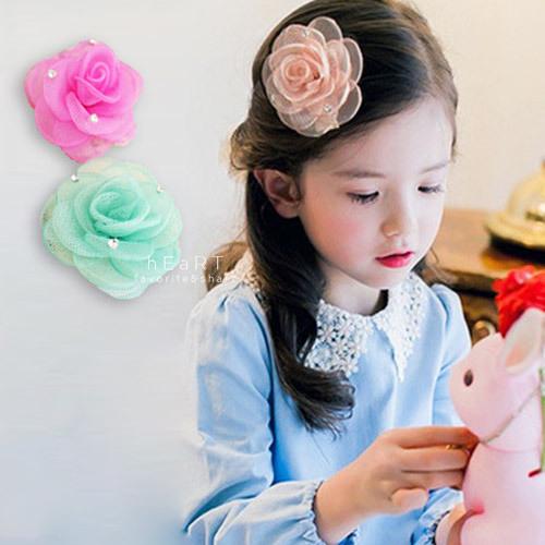 網紗玫瑰點鑽髮夾 兒童髮飾 髮夾