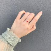 小麋人顯膚白精致小巧秀氣紅色愛心S925純銀戒指桃心開口尾戒女款   初見居家