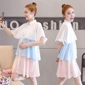 雪紡孕婦洋裝夏韓版寬鬆大碼短袖中長款連身裙 nm1761 【Pink中大尺碼】
