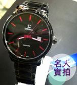 【名人鐘錶・實體店面】SIGMA 熱銷黑桃紅配色簡約黑鋼錶・藍寶石水晶鏡面・39mm錶面・1122M-B4