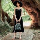 梨卡 - 法式復古氣質顯瘦黑色度假沙灘連身長裙洋裝連身裙長洋裝沙灘裙C6421