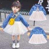 女童洋裝 女童牛仔拼接紗裙連身裙套裝新款春裝女寶寶洋氣長袖領結襯衫 BBJH