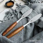 不銹鋼木柄面包吐司切片刀無齒奶油抹刀黃油果醬芝士奶酪刀      時尚教主