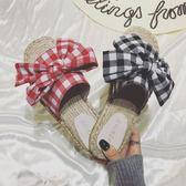拖鞋女夏時尚蝴蝶結麻底外穿個性草編格子亞麻漁夫平底平跟涼拖鞋 盯目家