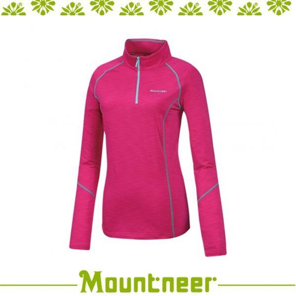 【Mountneer 山林 女遠紅雲彩保暖衣《深粉紅》】32P02/高領/長袖/旅遊