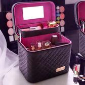 大容量韓國化妝包多功能小號方袋便攜手提多層化妝品收納盒簡約箱    西城故事