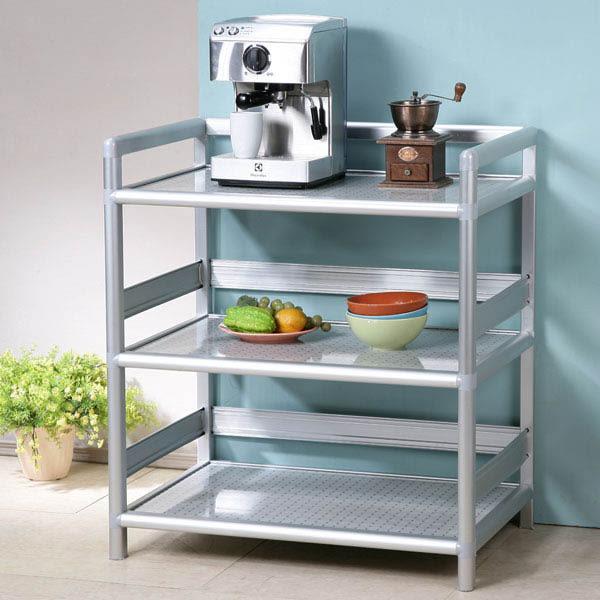 收納櫃《YoStyle》鋁合金2.5尺三層置物架(黑花格) 泡茶櫃 活動架 鋁架 收納架