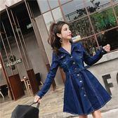 長袖洋裝 秋季裙子新款時尚單排扣翻領收腰中長款牛仔連身裙·皇者榮耀3C旗艦店