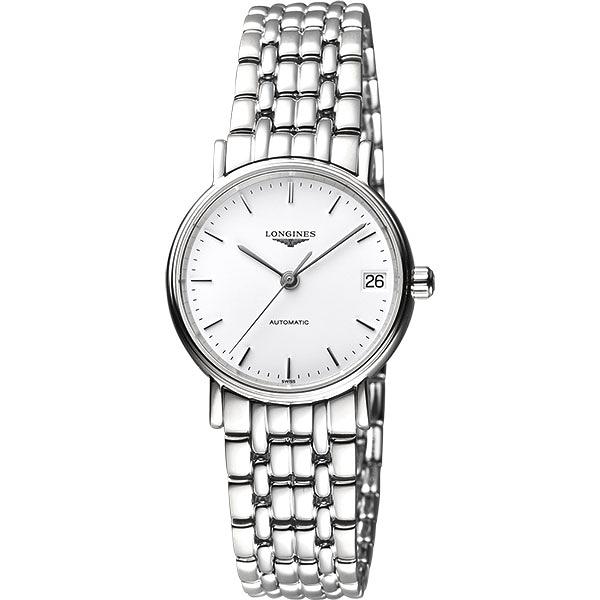 LONGINES 浪琴 Presence 經典優雅機械女錶-白/30mm L43224126