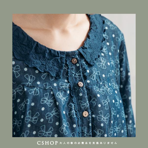 長版衫   可愛蝴蝶結印花蕾絲領牛仔洋裝   二色-小C館日系