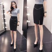 一步裙 夏季新款修身半身裙女開叉高腰彈力一步裙LJ8179『miss洛羽』