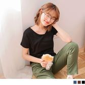 OrangeBear《AB6657》台灣製造.胸前壓V領車線短袖素面T恤上衣--適 XL~5L