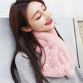 圍巾 女冬季韓版加厚保暖圍脖仿兔毛秋冬學生ins可愛毛絨脖套冬天