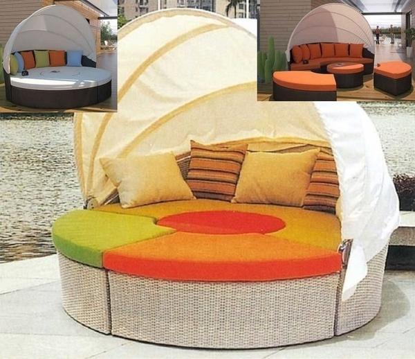 【南洋風休閒傢俱】戶外椅系列 -戶外多功能編藤遮陽有頂圓躺床 休閒躺椅 671-1