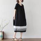 洋裝 - K6916 簡約黑拼接襬棉麻洋裝【加大F】