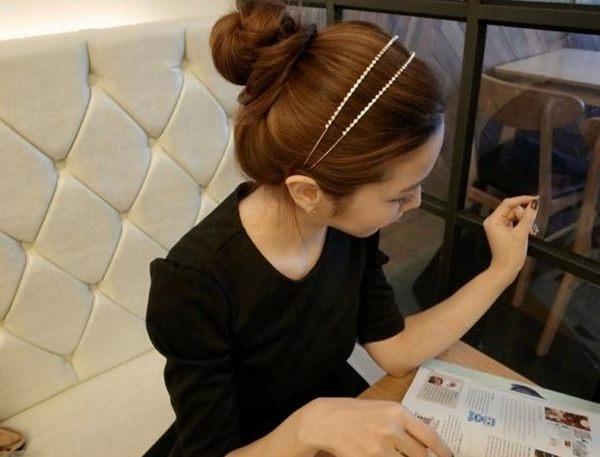 [協貿國際]  韓國髮飾頭飾髮箍雙排水鑽細髮箍 (3個價)