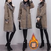 大尺碼斗篷 大碼羊羔毛大衣 冬季新款加絨加厚皮毛一體中長款毛呢厚外套女