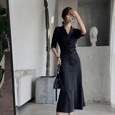長袖襯衫洋裝 緞面冰絲網紅連衣裙女初秋法式赫本復古裙收腰心機小黑裙裙子 - 雙十二交換禮物