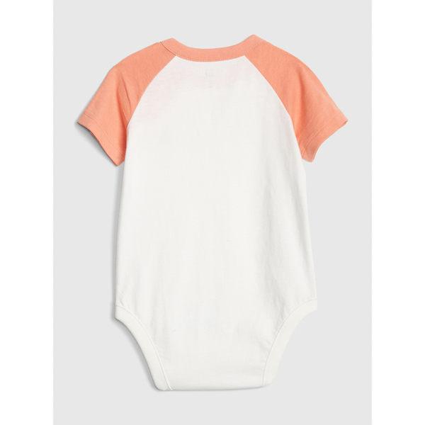 Gap男嬰兒 布萊納小熊刺繡舒適短袖包屁衣 464720-桃花源粉