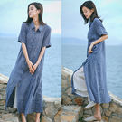 洋裝-高端色織亞麻長版襯衫裙/設計家 Q8769