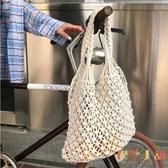 韓版手工編織沙灘縷空草編包造型手提側背包【倪醬小舖】