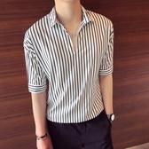 夏季寬鬆條紋襯衫短袖T恤男韓版潮流5五分袖7七分體恤男士半截袖 後街五號